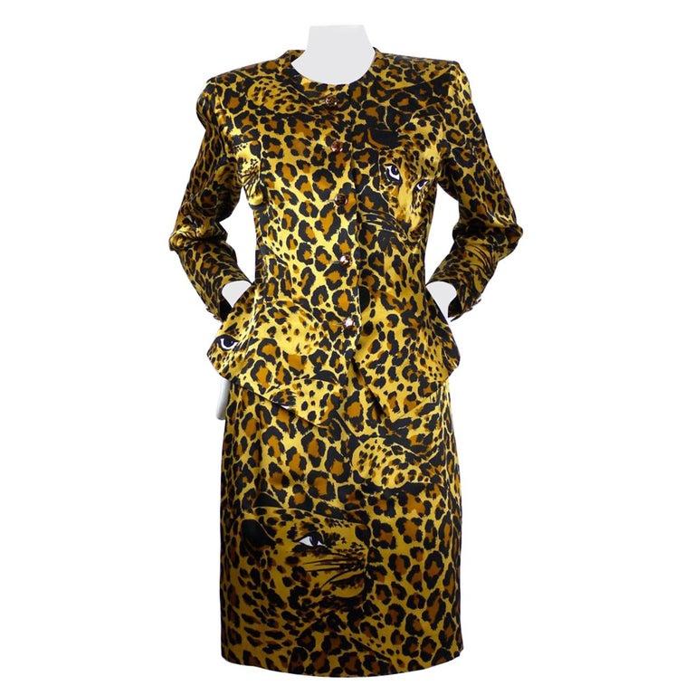 Vintage Iconic YVES SAINT LAURENT Rive Gauche Silk Leopard Print Suit For Sale