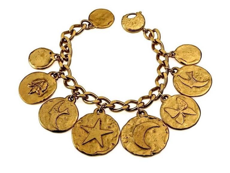 Women's Vintage Iconic YVES SAINT LAURENT Ysl Emblem Medallion Charm Bracelet For Sale