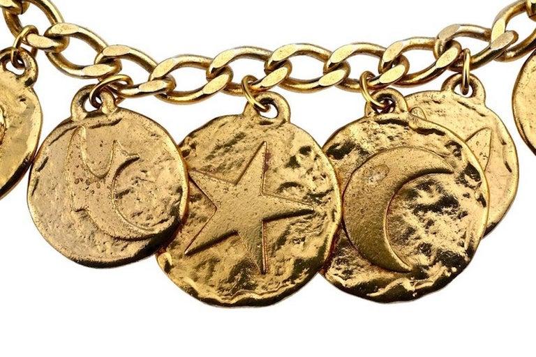 Vintage Iconic YVES SAINT LAURENT Ysl Emblem Medallion Charm Bracelet For Sale 1