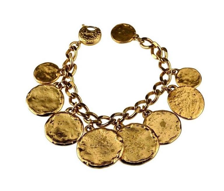 Vintage Iconic YVES SAINT LAURENT Ysl Emblem Medallion Charm Bracelet For Sale 4