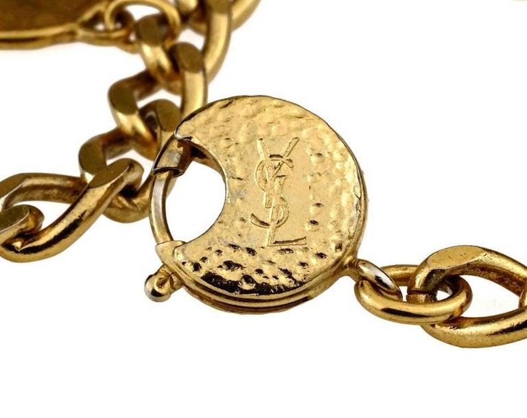 Vintage Iconic YVES SAINT LAURENT Ysl Emblem Medallion Charm Bracelet For Sale 5