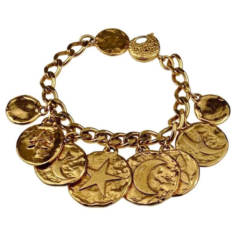 Vintage Iconic YVES SAINT LAURENT Ysl Emblem Medallion Charm Bracelet For Sale