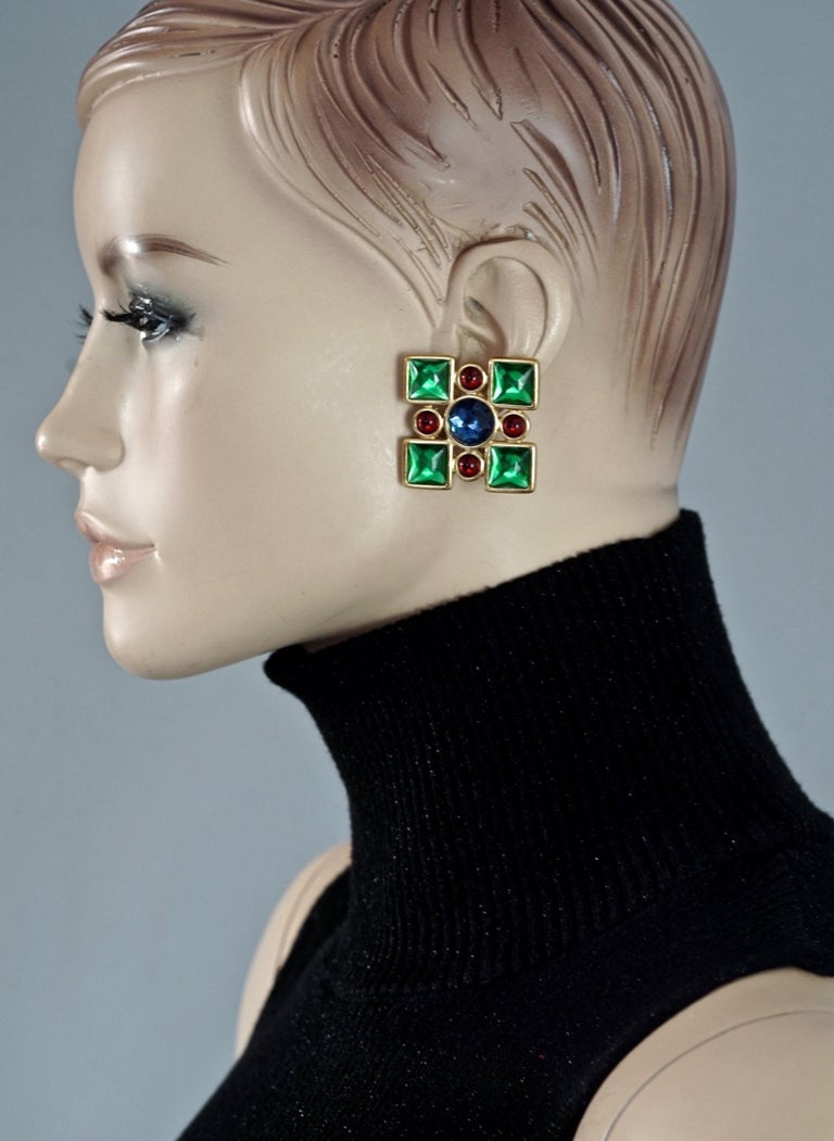 Vintage Massive YVES SAINT LAURENT Ysl Flower Enamel Rhinestone Earrings  Measurements: Height: 2 inches (5.1 cm) Width: 1.85 inches (4.7 cm) Weight per Earring: 32 grams  Features: - 100% Authentic YVES SAINT LAURENT. - Massive flower enamel