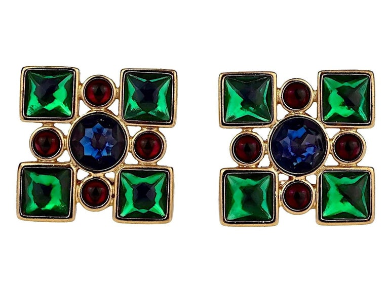 Vintage Iconic YVES SAINT LAURENT Ysl Jewelled Earrings In Excellent Condition For Sale In Kingersheim, Alsace