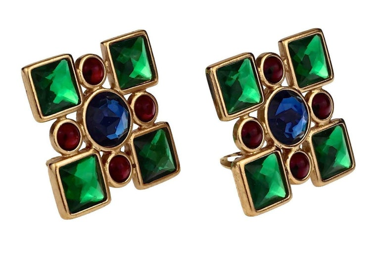 Women's Vintage Iconic YVES SAINT LAURENT Ysl Jewelled Earrings For Sale
