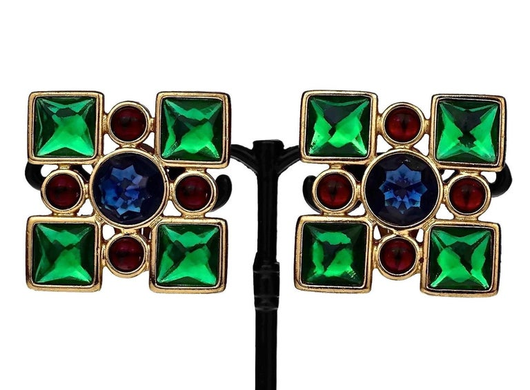 Vintage Iconic YVES SAINT LAURENT Ysl Jewelled Earrings For Sale 1