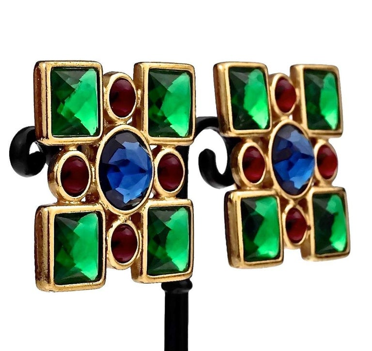 Vintage Iconic YVES SAINT LAURENT Ysl Jewelled Earrings For Sale 2