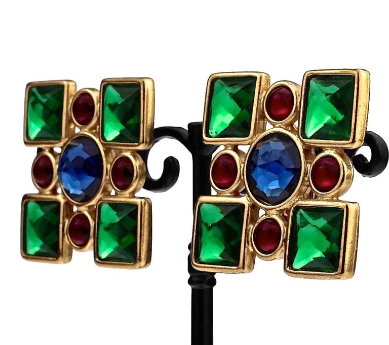 Vintage Iconic YVES SAINT LAURENT Ysl Jewelled Earrings For Sale 3