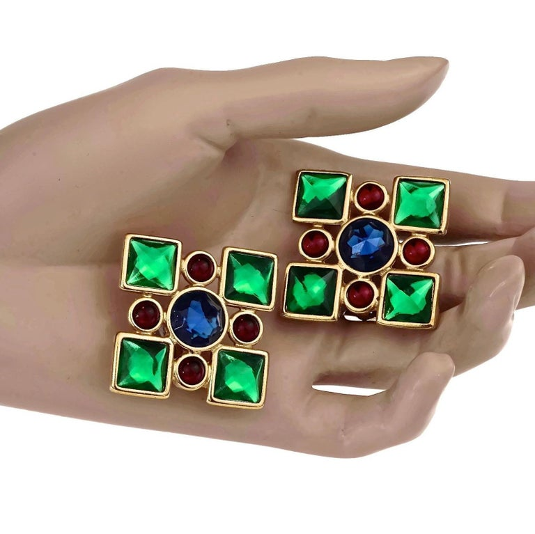 Vintage Iconic YVES SAINT LAURENT Ysl Jewelled Earrings For Sale 4