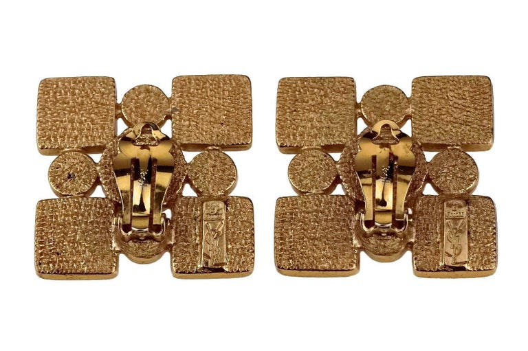 Vintage Iconic YVES SAINT LAURENT Ysl Jewelled Earrings For Sale 5