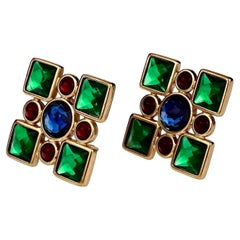 Vintage Iconic YVES SAINT LAURENT Ysl Jewelled Earrings