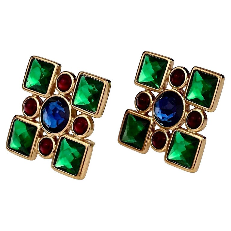 Vintage Iconic YVES SAINT LAURENT Ysl Jewelled Earrings For Sale