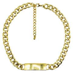 Vintage ID Bar Chunky Chain Necklace 2000s