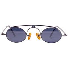 Vintage IDC Lunettes Black Matte Grey Lens Small 1980's Sunglasses France