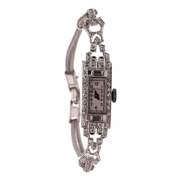 Vintage IGI Platinum and 14 Karat White Gold Diamond Swiss Croton Timepiece For Sale