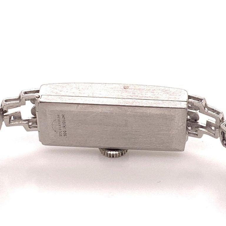 Art Deco Vintage IGI Platinum and 14 Karat White Gold Diamond Swiss Croton Timepiece For Sale