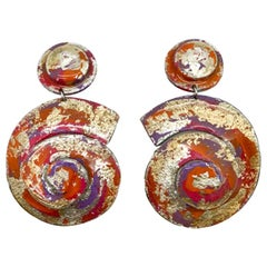 Vintage Ikarami Swirl Statement Earrings 1980ss