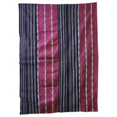 Vintage Ikat Patterned Woman's Weave Wrapper Cloth in Indigo, Nigeria 1950's