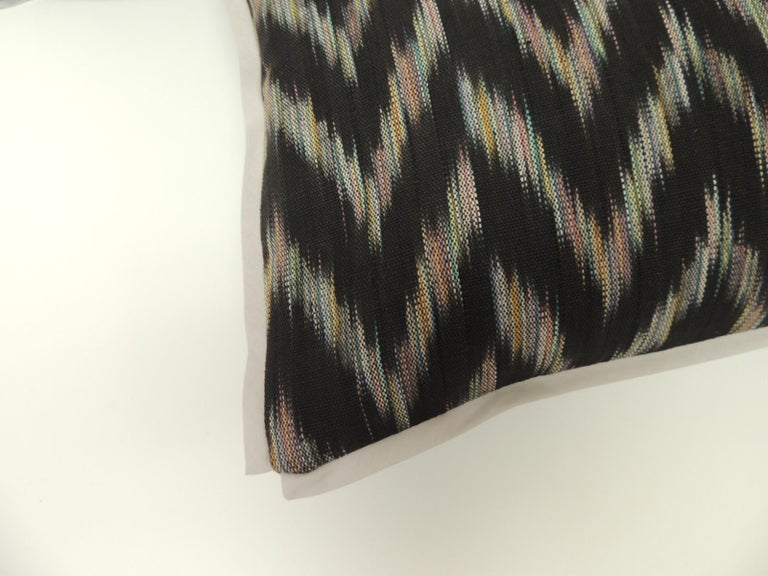 Tribal Vintage Ikat Woven Blue and Grey Decorative Lumbar Pillow For Sale