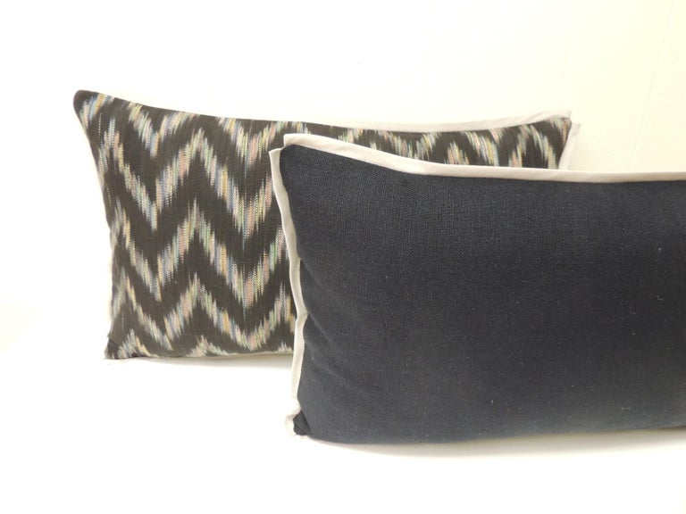 Thai Vintage Ikat Woven Blue and Grey Decorative Lumbar Pillows For Sale