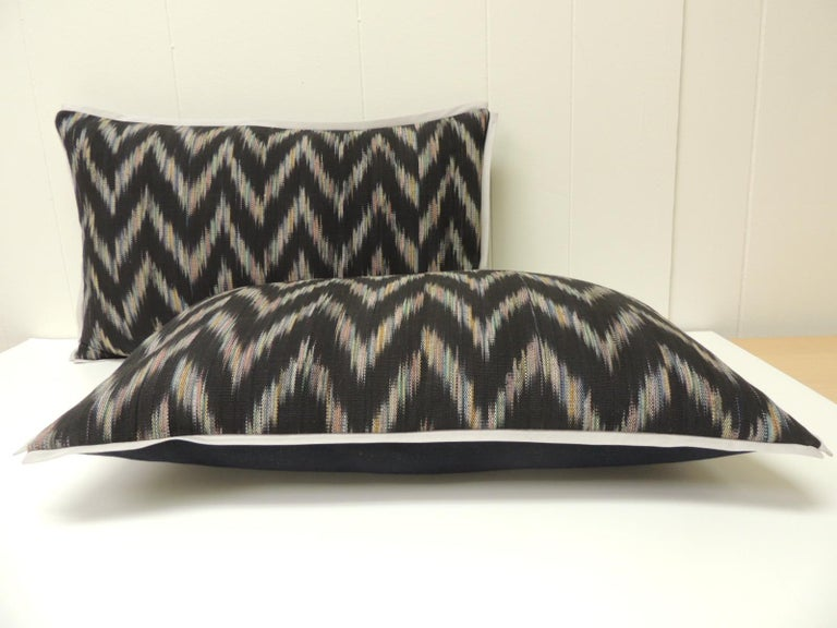 Hand-Crafted Vintage Ikat Woven Blue and Grey Decorative Lumbar Pillows For Sale