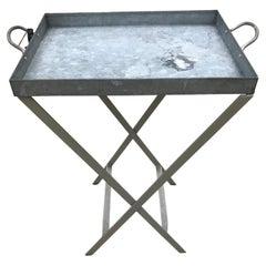 Vintage IKEA Galvanized Metal Folding Tray Table