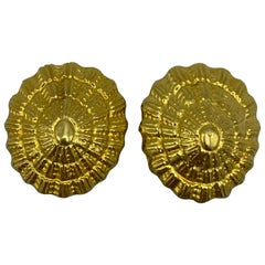 Vintage Ilias Lalaounis Yellow Gold Shell Clip- On Earrings