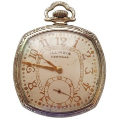 1929 Vintage Illinois Central Pocket Watch, 14kt White Gold Filled, Working