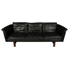 Vintage Illum Wikkelso Leather Sofa, Denmark, circa 1970