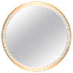 Vintage Illuminated Round Circle Wall Mirror, Germany, 1970s