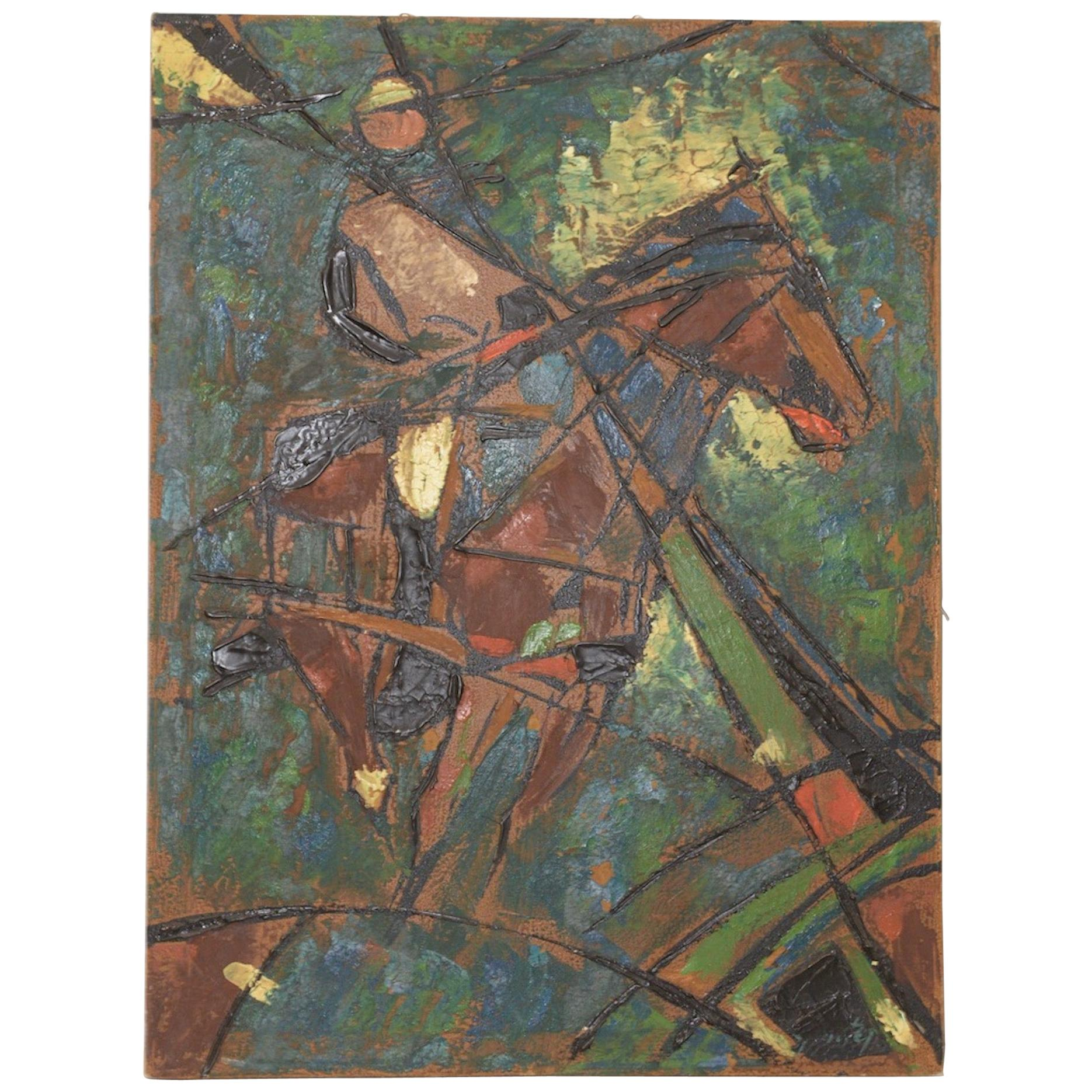 "Vintage Impasto ""Polo Match"" Abstract Oil Painting, circa 1980"