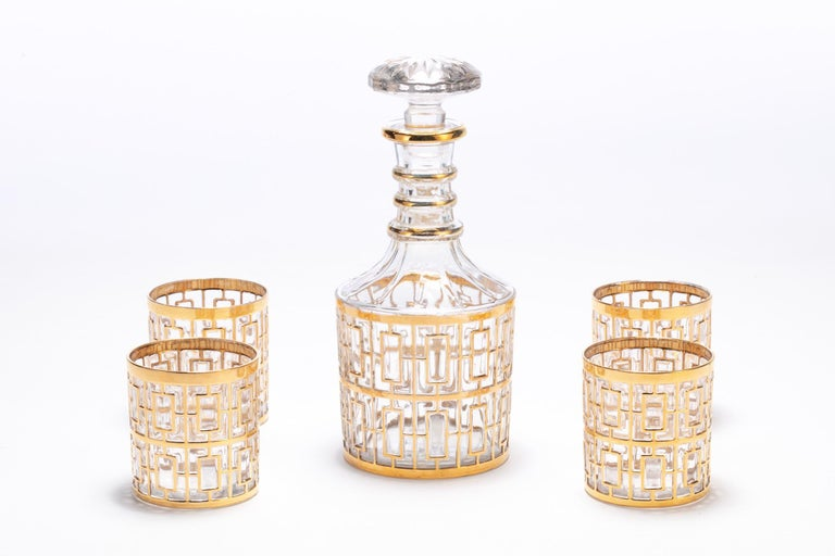If you're looking for the best in sexy, Hollywood Regency style barware, you've found it. This vintage decanter was manufactured by the Imperial Glass Company in Ohio sometime between 1965 and 1979 and features the iconic trellis pattern - the