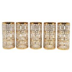 Vintage Imperial Glass Cocktail Highball Glasses 22-Karat Gold 1960s 'Set of 5'