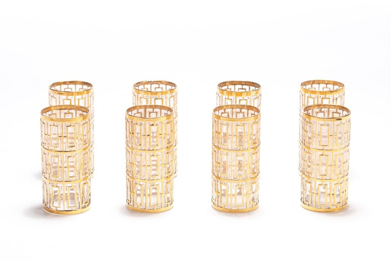 If you're looking for the best in sexy, Hollywood Regency style glasses, you've found them. These vintage glasses were manufactured by the Imperial Glass Company in Ohio sometime between 1965 and 1979 and feature the iconic trellis pattern - the