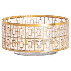 Vintage Imperial Glass Co. Shoji Large Hospitality Bowl 22-Karat Gold, 1960s