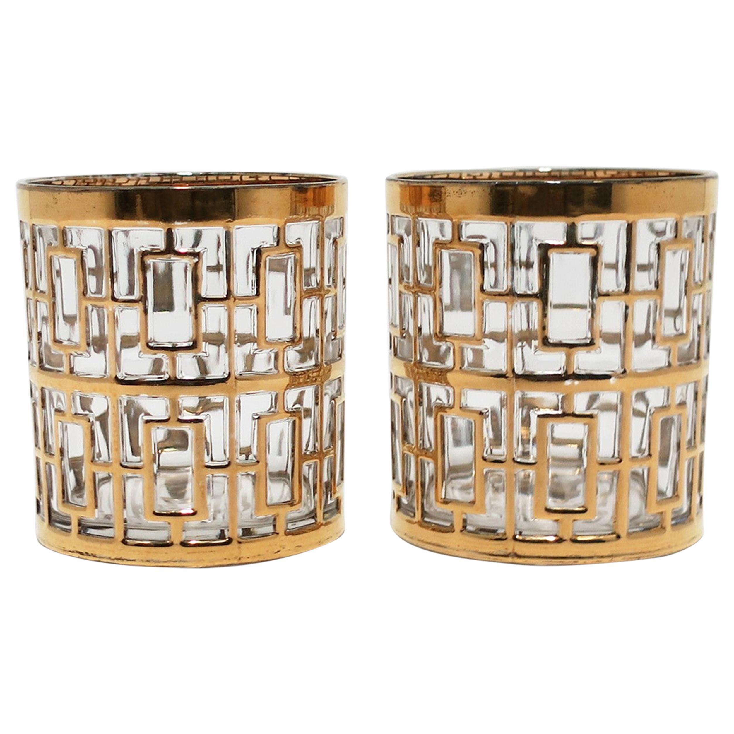 Vintage Imperial Glass Cocktail Rocks Glasses 22-Karat Gold 1960s, Set of 2