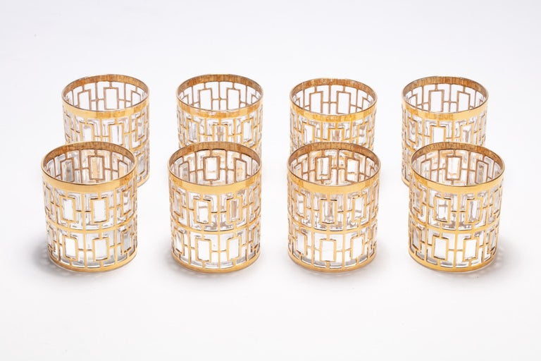 If you're looking for the best in sexy, Hollywood Regency style glasses, you've found them. These vintage rocks glasses were manufactured by the Imperial Glass Company in Ohio sometime between 1965 and 1979 and feature the iconic trellis pattern -