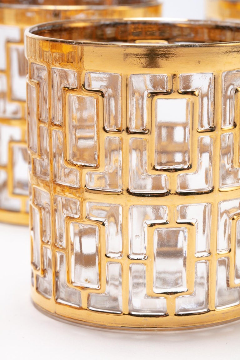 Hollywood Regency Vintage Imperial Glass Co. Shoji Rocks Glasses 22-Karat Gold 1960s, Set of 8 For Sale