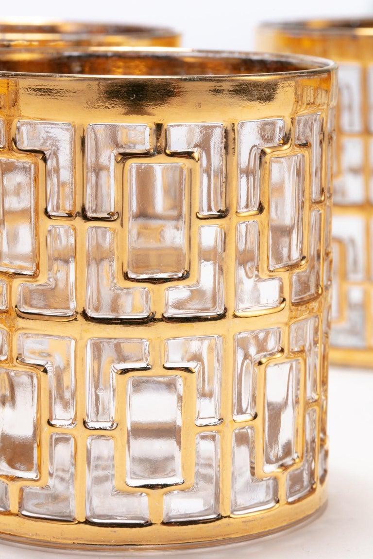 American Vintage Imperial Glass Co. Shoji Rocks Glasses 22-Karat Gold 1960s, Set of 8 For Sale