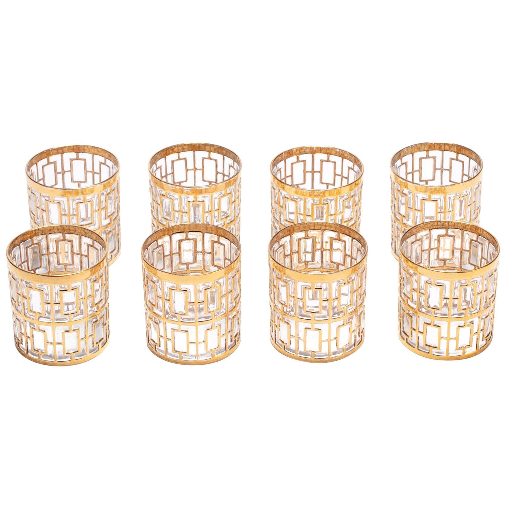 Vintage Imperial Glass Co. Shoji Rocks Glasses 22-Karat Gold 1960s, Set of 8