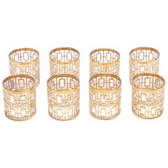 Vintage Imperial Glass Co. Shoji Rocks Glasses 22-Karat Gold 1960s, Set of 8