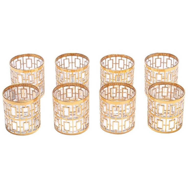 Vintage Imperial Glass Co. Shoji Rocks Glasses 22-Karat Gold 1960s, Set of 8 For Sale
