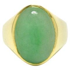 Vintage Imperial Jade Men's Ring Natural Jadeite Untreated 14 Karat Gold Dome
