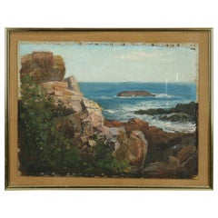 Vintage Impressionist Seascape Painting on Board of Rocky Shoreline, Circa 1930