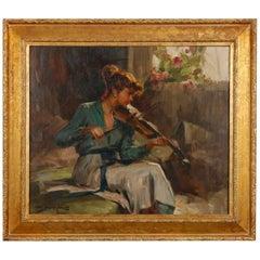 Vintage Impressionistic Oil on Canvas Painting of Violinist, Artist Signed