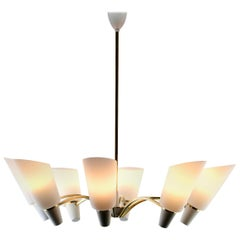 Vintage in the Style of Stilnovo Chandelier Eight Arms Italian, 1960s