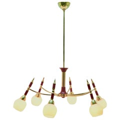 Vintage in the Style of Stilnovo Chandelier Six Arms Italian, 1960s