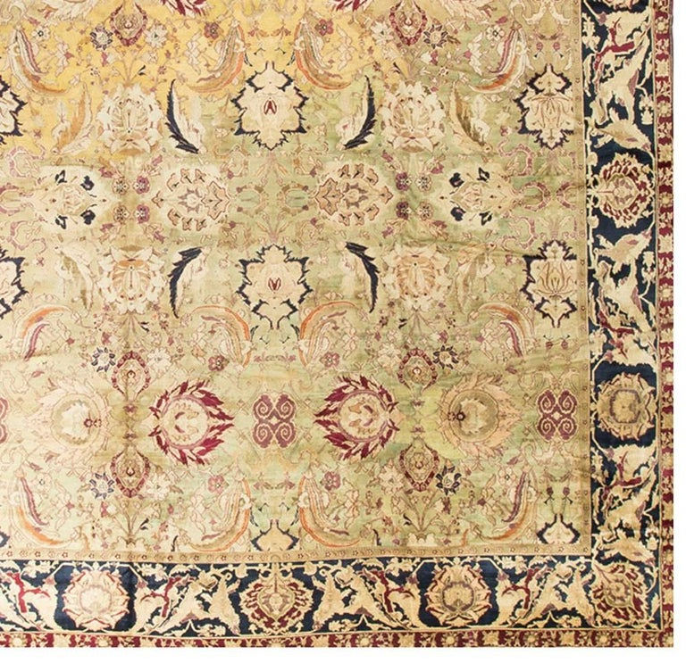 Antique Cotton Agra Rug With Abrash Circa 1900 For Sale: Vintage Indian Agra Rug For Sale At 1stdibs