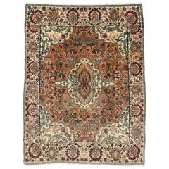 Vintage Indian Agra Rug, Foyer or Entry Rug with Arts & Crafts Style