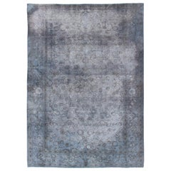Vintage Indian Amritsar Rug Distressed and Over-Dyed in Shades of Gray-Blue